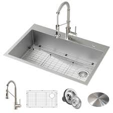 Image Cast Iron The Home Depot Kraus Loften Allinone Dual Mount Dropin Stainless Steel 33 In 2hole Single Bowl Kitchen Sink With Pull Down Faucet