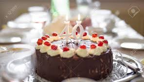 Happy 40th Birthday Cake With Candles On Table Stock Photo Picture