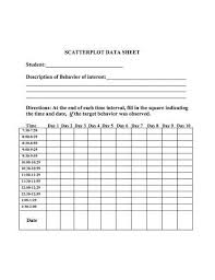 Scatter Plot Data Scatter Plot Data Sheet Behavioral Data Collection Sheets Data