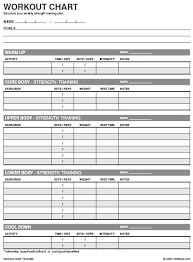 Work Out Charts Template Pin On Health