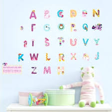 letter wall decals cartoon alphabet lovely letters wall stickers for kids rooms nursery room decorations mural letter wall decals