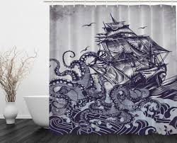 black and purple shower curtain. best octopus shower curtain design for the bathroom kraken attack black and purple