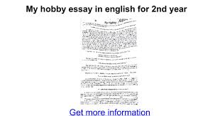 my hobby essay in english for nd year google docs