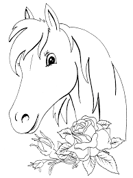 Horse And Roses Coloring Page For