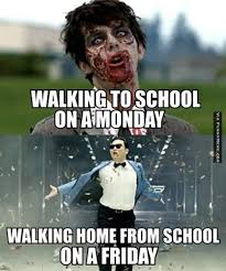 Funny memes - Walking to school on a Monday | FunnyMeme.com via Relatably.com