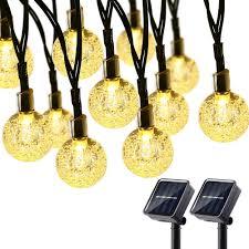 Amazon Solar Outdoor String Lights Brizled 2 Pack Solar Globe String Lights 21 33ft 30 Led Outdoor String Lights Waterproof 8 Modes Crystal Ball Solar Light String For Yard Patio