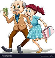 Young lady with her sugar daddy Royalty Free Vector Image