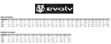 Evolv Shoe Size Chart Name