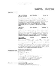 One Page Firefighter Resume Template All Best Cv Resume Ideas