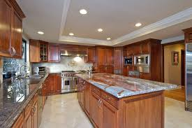 Kitchens With Saltillo Tile Floors Two Pretty Chandelier Above The Island Porcelain Tile Kitchen