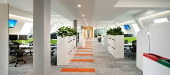 ebay office. Open Plan Office Design With Plants And Orange Striped Carpet Ebay