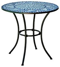 30 inch round metal outdoor bistro patio table with hand laid blue tiles contemporary outdoor pub and bistro tables by hilton furnitures
