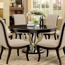 kitchen dining room tables furniture of america daphne round pedestal espresso chagne dining table espresso
