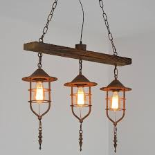 retro nautical wood beam metal cage 3 light 5 light rustic island pendant light in rust