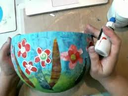 How To Decorate A Bowl Decorating a Paper Mache Bowl with Gelli Printed Papers YouTube 16
