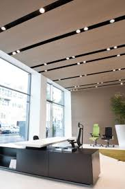 modern office ceiling. timber ceiling with strip lighting modern office
