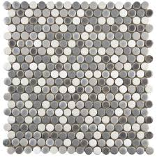 Merola Tile Comet Penny Round Luna 11-1/4 in. x 11-3/4 in. x 9 mm Porcelain  Mosaic Tile-FSHCOMLU - The Home Depot