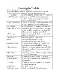 Progressive Legislation Chart Answers Progressive Era Vocabulary