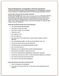 Interview Questions Template Stunning Sexual Harassment Investigation Interview Questions