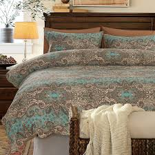 turquoise brown and khaki classic baroque style shabby chic paisley print southwestern style 100 egyptian cotton full queen size bedding sets