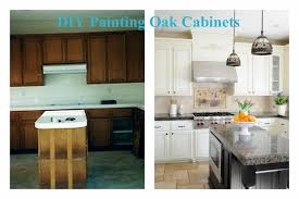 oak cabinets painted whitebefore and after painted oak cabinets with a dark island Cabinets