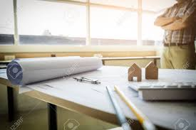 architectural office furniture. Architectural Office Desk Background Construction Project Ideas Concept, With Drawing Equipment Mining Light. Furniture