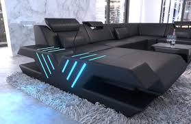 Details About Wohnlandschaft Xxl Leder Couch Designer Sofa Venedig Ottomane Led Usb Schwarz