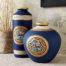 maati designs blue earthen vase set of two faurnish com