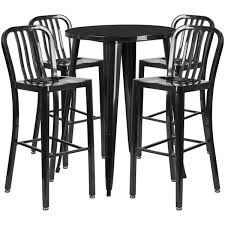 outdoor metal table. Plain Table 30u0027u0027 Round Black Metal IndoorOutdoor Bar Table Set With 4 Vertical Slat To Outdoor