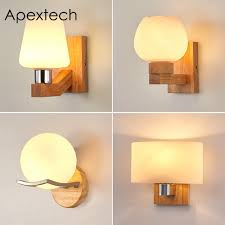 Apextech Oak Wood Wall Lamp Frosted Glass Shade Modern Nordic Indoor Decoration Lighting Fixture Bedroom Bedside Night Lights