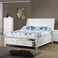 white platform bed with drawers. Selena White Wood Full Platform Storage Bed | Cottage With Drawers T
