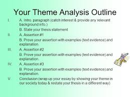 theme statements vs topics theme a lesson the reader learns from  your theme analysis outline i a intro