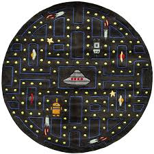 5 round arcade game black area rug whimsy