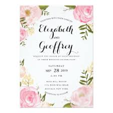 floral wedding invitations rectangle ivory pink rose framing with