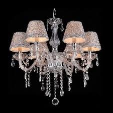 shinning 6 light clear crystal chandelier hanging sparkling crystal beaded strands