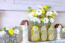 Milk Bottle Decorating Ideas Spring decor with Milk bottle Vases Lemons and Daisies 97