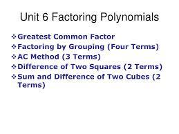 Ac Method Ppt Unit 6 Factoring Polynomials Powerpoint Presentation Id 6436502