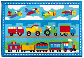 olive kids trains planes trucks rectangular printed rug