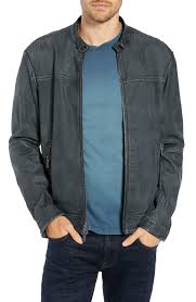 irregular triple needle stitch leather racer jacket john varvatos