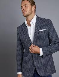 men s blue grey dogtooth harris tweed jacket hawes and curtis