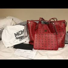 mcm large reversible red leather tote bag