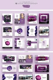 Social Media Design Templates Purple Flowers Social Media Designs Psd Template Photoshop