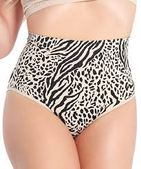 Slimme By Memoi Black Nude Zebra High Waist Firm Compression Shaper Briefs Women