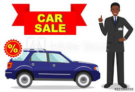 Automobile For Sale Sign Car Showroom Big Sale Manager Sells New Automobile