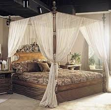 Dark brown teak canopy bed frame decor with height headboard and white  sheer curtain. Incredible The Most Beautiful And Romantic Canopy Beds /Four  Poster ...