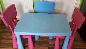 childrens ikea mammut table chair set blue table 2 x