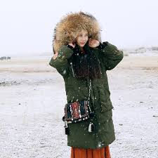 mai xu embroidered duck down green winter coat