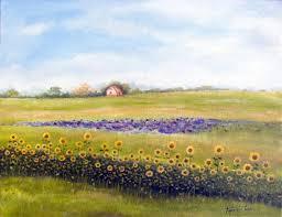 sunflower farm oil painting on canvas by artist darko topalski