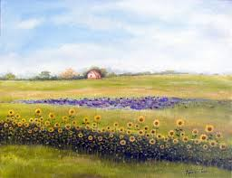 sunflower farm oil painting on canvas by artist darko topalski