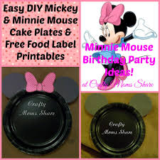 diy easy minnie mouse and mickey mouse cake plates free food label printables
